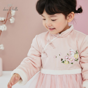 DBM15296 dave bella winter baby girl's cute floral embroidery mesh dress children fashion party dress kids infant lolita clothes image