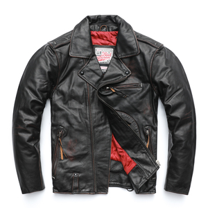 Image 2 - MAPLESTEED Vintage Original Pilot Leather Jacket Men Genuine Cow Motorcycle Male Vintage Jacket Red Brown Motor Biker Coat M105