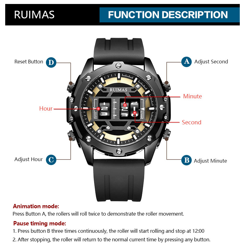 RUIMAS Digital Quartz Watch Men Top Brand Luxury Waterproof Wristwatch Male Silicone Strap Military Relogio Masculino Clock 553