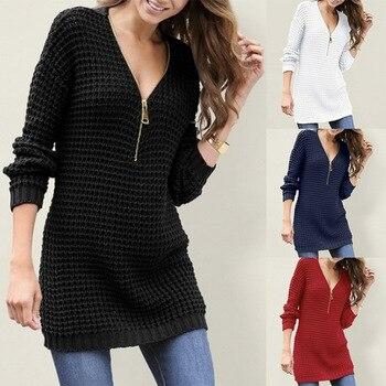 Womens  Knit sweater dress New Ladies V Neck Solid zipper Long Sleeve jumper v neck zipper choker jumper