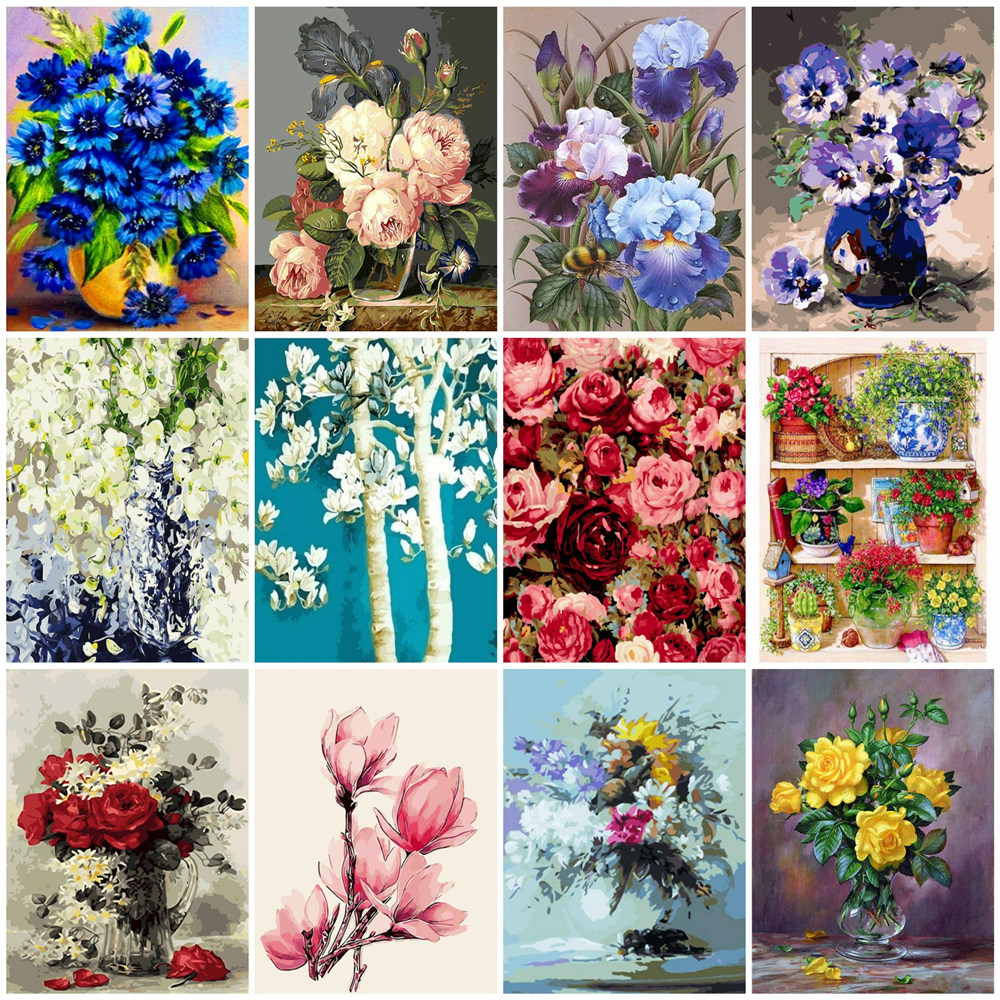 HUACAN Oil Painting By Numbers Flowers Picture Kits HandPainted Art Gift DIY Dawing On Canvas Home Decoration