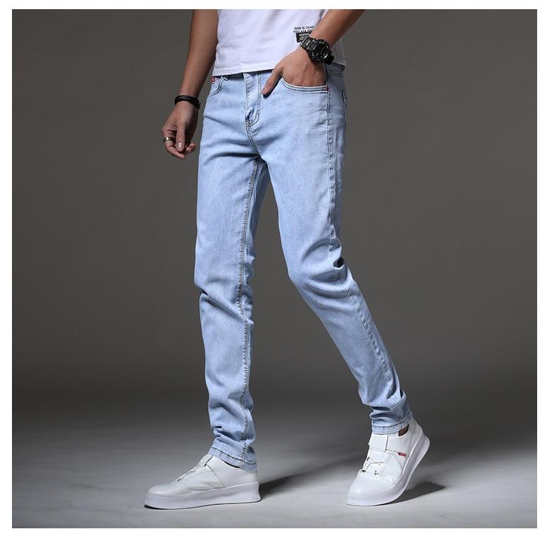 New Style Men's Slim Fit Jeans Korean-style Trend Youth Skinny Cowboy Trousers Light Blue Cowboy Men'S Wear