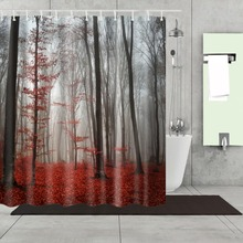 3D Shower Curtain Green Forest Bathroom Drapes Curtains Nature Pattern Waterproof Polyester Fabrics Bathing Curtain 180*180cm white embroidered short curtain for kitchen floral sheer tulle curtains for bedroom voile window screening curtain blinds drapes