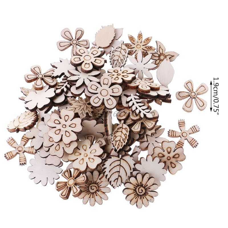 100PCS Flower Star Shape Wooden Chips DIY Wooden Slices for Crafts Making Doodle