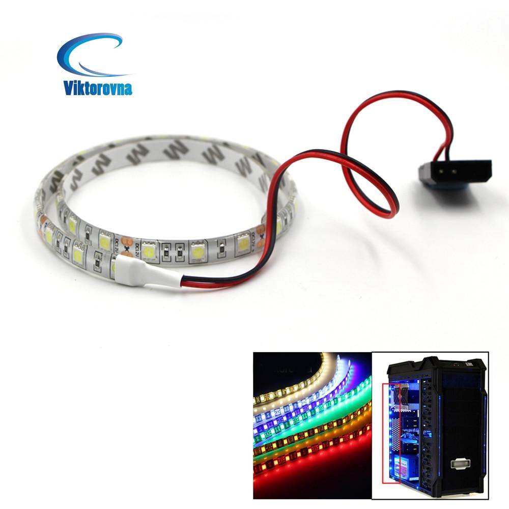 Светодиодный светильник RGB с 24 клавишами для ПК, Чехол 12 В постоянного тока для фона ПК, чехол для компьютера, клейкая лента, светильник, разъ...