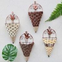Feito à mão vime rattan cesta de flor verde videira vaso plantador pendurado vaso recipiente cesta planta parede para jardim ptb01