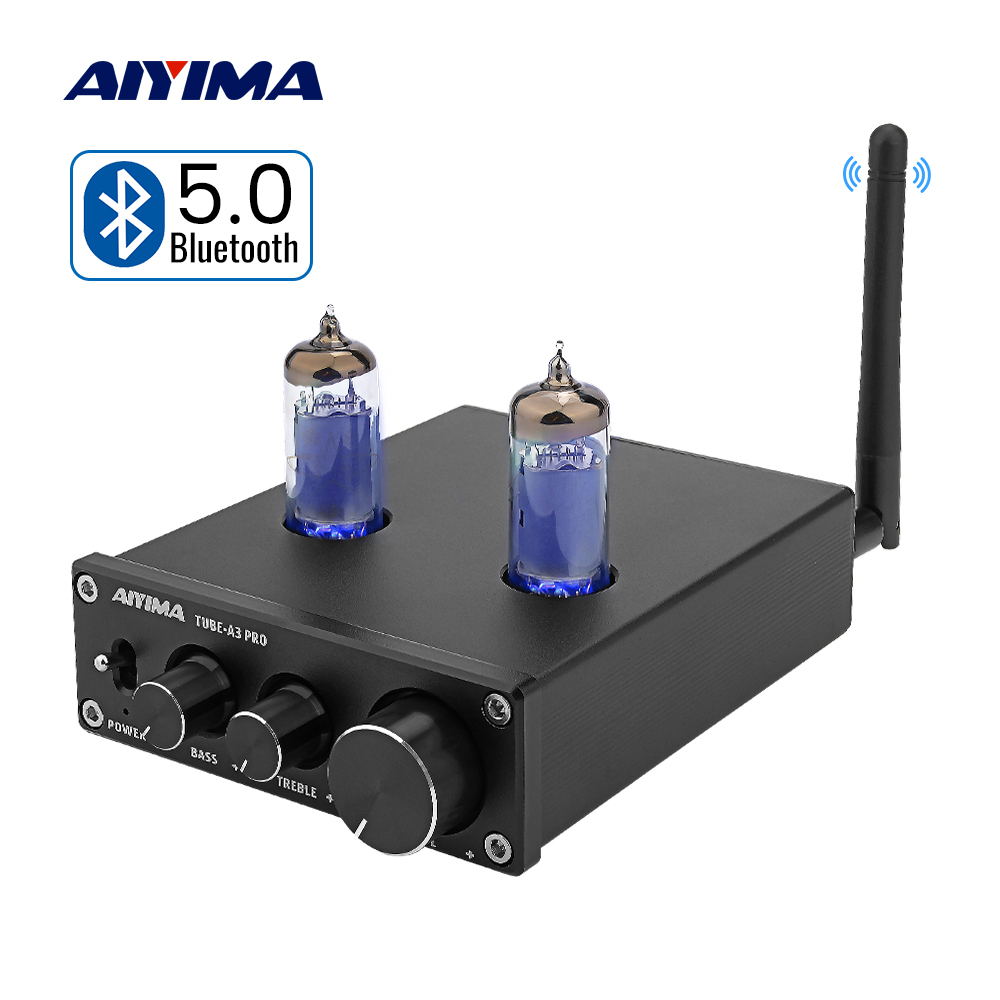 AIYIMA Bluetooth 5.0 6K4 Vacuum Tube Amplifiers Audio Board Bile Preamplifier Preamp AMP Treble Bass Adjustment DIY Home Theater