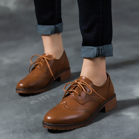 New single shoes retro casual shoes color matching leather Oxford spring and autumn women oxford shoes