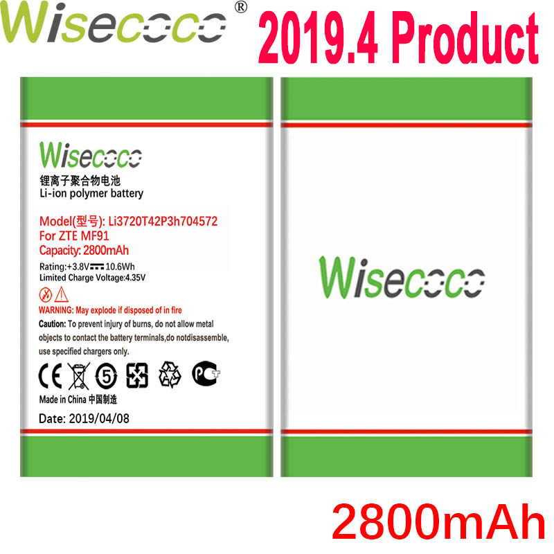 Wisecoco 2800mAh Li3720T42P3h704572 <font><b>Battery</b></font> For <font><b>ZTE</b></font> MF90M MF91 <font><b>MF90</b></font> 4G WIFI Router Phone Latest Production <font><b>Battery</b></font>+Tracking Code image