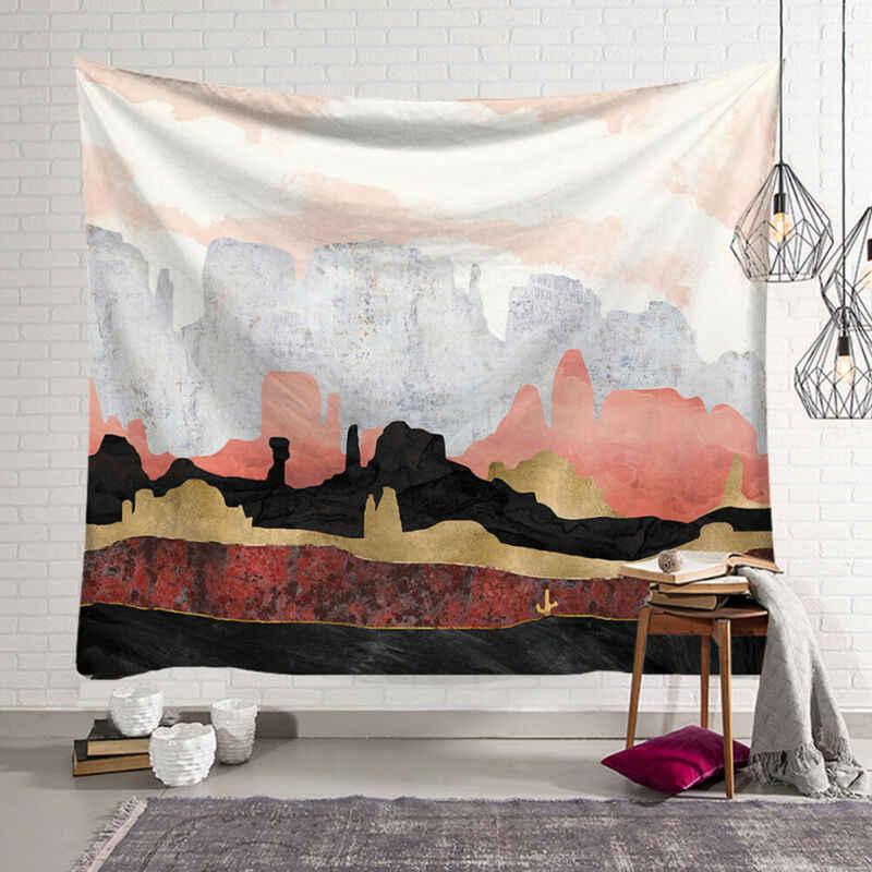 קיר תלוי המנדלה שטיח נסיעה קמפינג זריחת שמן ציור דפוס Boho שטיח יוגה כרית שינה שטיח 95x73cm