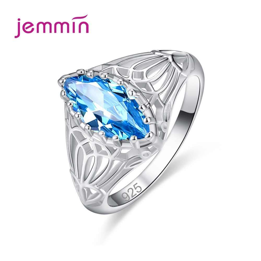 Europa America Stile Semplice Blu Smeraldo di Cristallo Vintage 925 Sterling Silver Per Le Donne Anelli Cubic Zirconia Gioielli