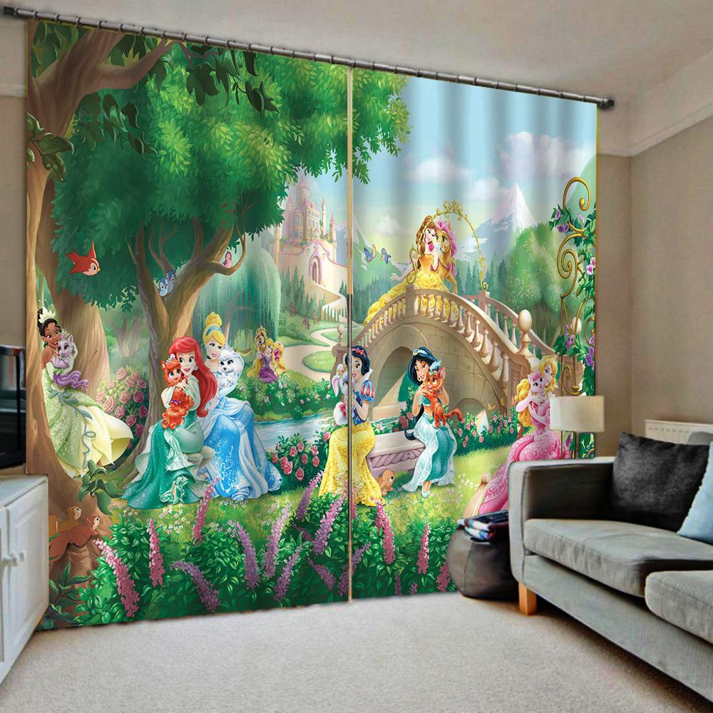 3D Blackout Curtain Living Room Modern Grils Room Curtains Drapes Princess Printed 3D Curtains Kitchen