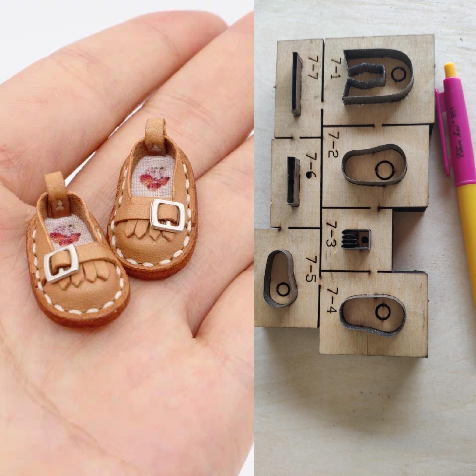 Cuir découpé avec des matrices artisanat cuir bricolage poupée OB11 chaussures conception porte-clés pendentif pour sac coupe moule modèle outil de poinçon à la main