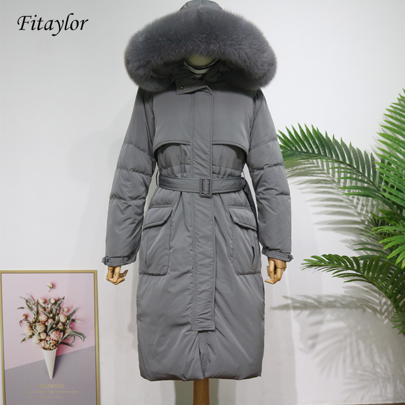 Fitaylor New Large Real Natural Fur Down Long Jacket 2019 Winter Women Thick Warm Coat White Duck Down Waterproof Overcoat