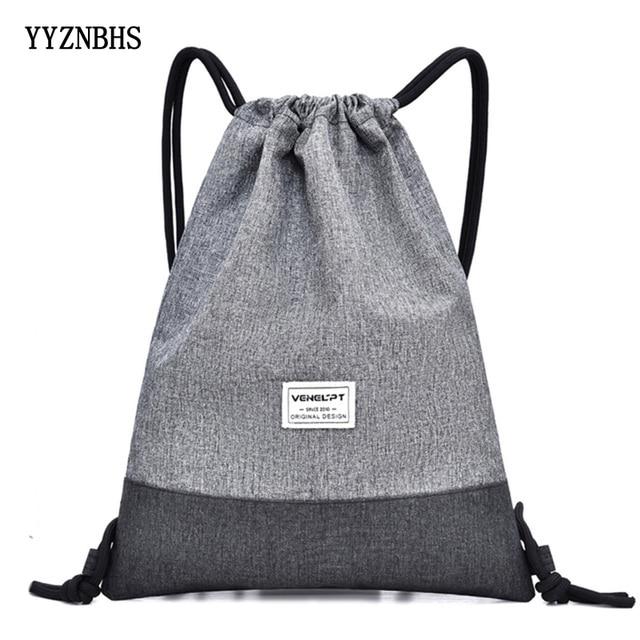Women Men Drawstring Bags Women Canvas Backpack Beach Bag Outdoor Fitness Sport Bag Bundle Pocket Travel Softback Women Mochila 2