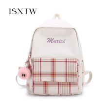 ISXTW 2019 Casual Student Bag Ladies New Backpack Middle School Students Bag Waterproof Canvas Houndstooth Wild Travel Bags/C39