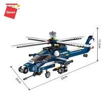 Qman-helicóptero militar Storm de bloques de construcción, conjunto de 8 modelos de juguete, Kit de combinación grande, juguetes para niños con 381 piezas