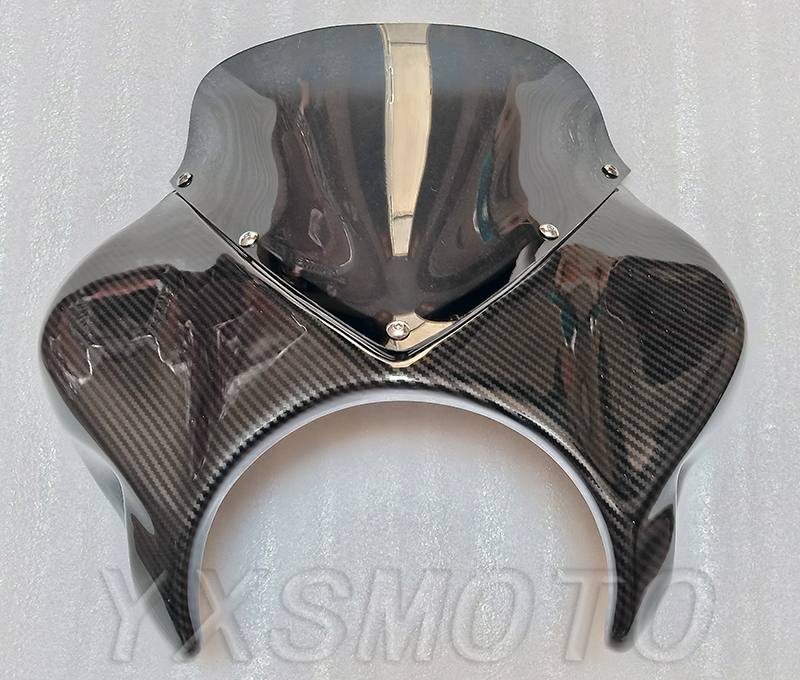 For Honda CB400 XJR400 ZRX400 CB1300 VTEC Modified Hood Shroud Headlight Cover Windshield Imitation Carbon Fiber