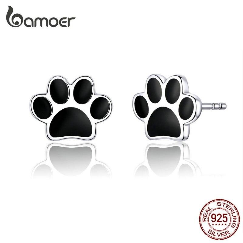 Bamoer perro pata plata 925 pendientes de tachuela para niñas Negro esmalte pendientes de plata de ley joyería de moda oreiles 2019 SCE757