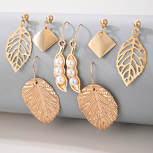 Tocona 4pair/sets Bohemain Leaf Drop Earring Sets for Women Elegance Pearl Stone Hollow Geometric Party Jewelry Gift 15986