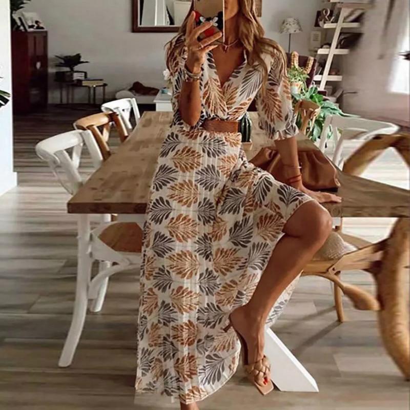 Verano Vestido de playa estilo estampado de moda una línea de cuello en V Mujer ropa Casual mangas medio tobillo longitud imperio vestido de mujer