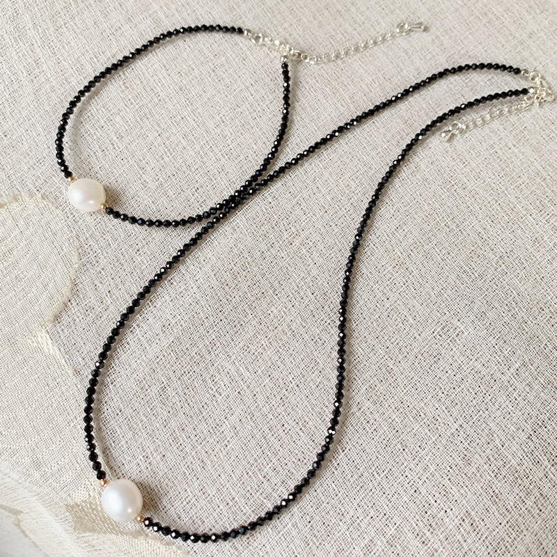 Reiki Healing Jewelry 2mm Small Black Obsidian Stone Choker Necklace White Baroque Pearl Charm Natural Freshwater Pearl Necklace