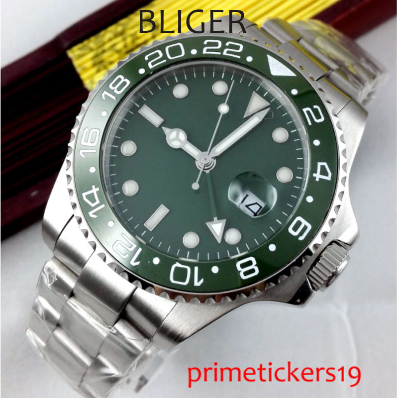 Automatic mens watch 40mm green no logo dial date GMT sapphire glass green ceramic bezel  PA295AU