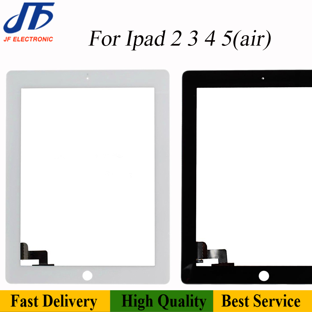 10Pcs/lot For Ipad Air Touch Panel Replacement For IPad 2 / 3 / 4 / 5 Front Touch Screen Digitizer Front Outer Glass