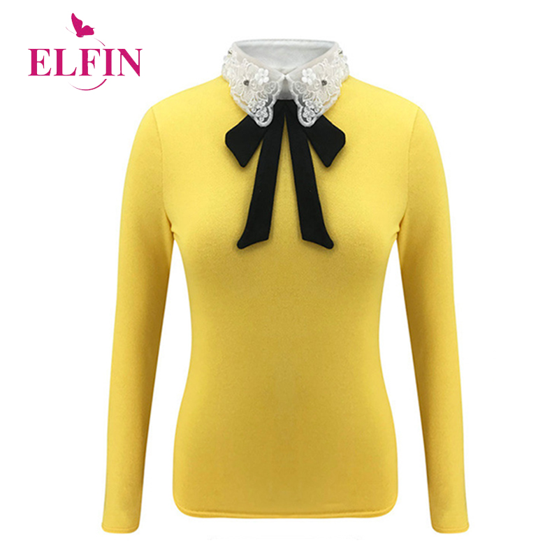 Korean Style Women <font><b>T</b></font>-<font><b>shirt</b></font> <font><b>Bow</b></font> Banage Preppy Patchwork Harajuku Long Sleeve Ladies Tops Autumn Clothes 2019 SJ4615R image