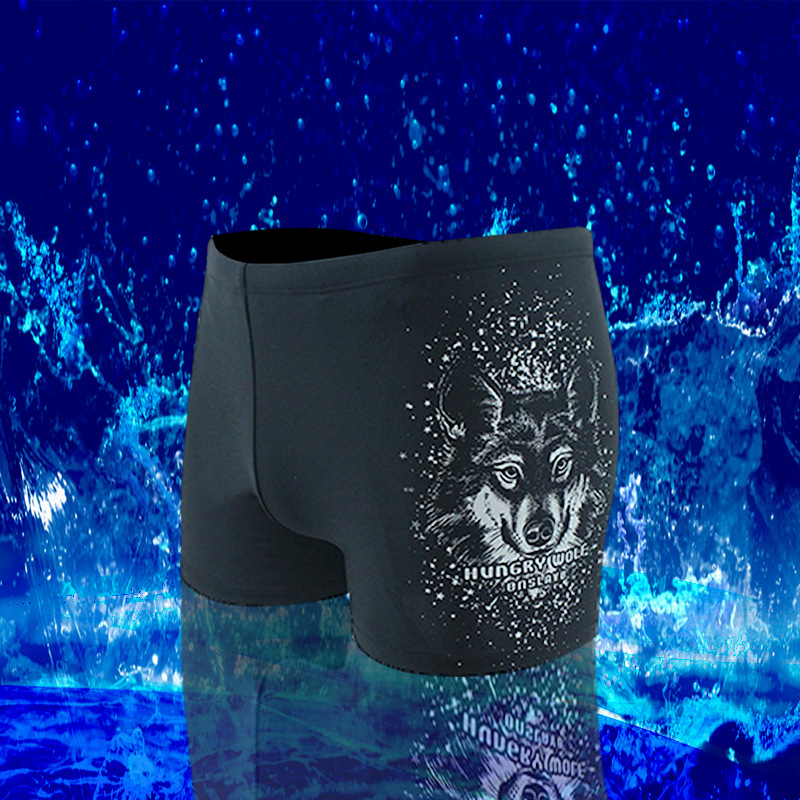 Summer New Style MEN'S Swimming Trunks Quick-Dry Breathable Fashion Wolf Head Printed Swimming Trunks Boxer Surfing Beach Hot Sp