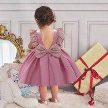 2021 Одежда для новорожденных 1st платье на день рождения для детей для маленьких девочек одежда принцессы с бантом платье для крещения с пайет...