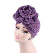 Women Bright Muslim Turban Hijabs Big Flower Elastic Cloth Head Wrap Ladies Wedding Party Hair Accessories Fashion Headwear