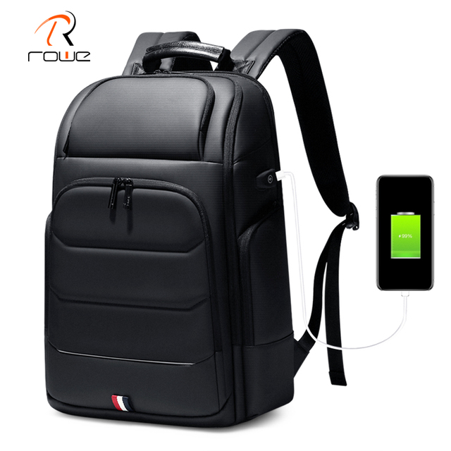Rowe الذكور متعددة الوظائف على ظهره USB شحن الأعمال حقيبة ظهر للسفر مكافحة سرقة مقاوم للماء 15.6 بوصة محمول الظهر حزمة Mochila