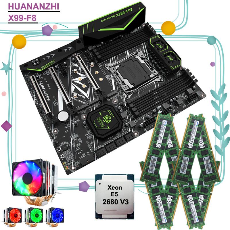 HUANANZHI X99-F8 Motherboard With Dual M.2 NVMe SSD Slot M.2 WIFI CPU Intel Xeon 2680 V3 With Cooler RAM 128G(8*16G) DDR4 RECC