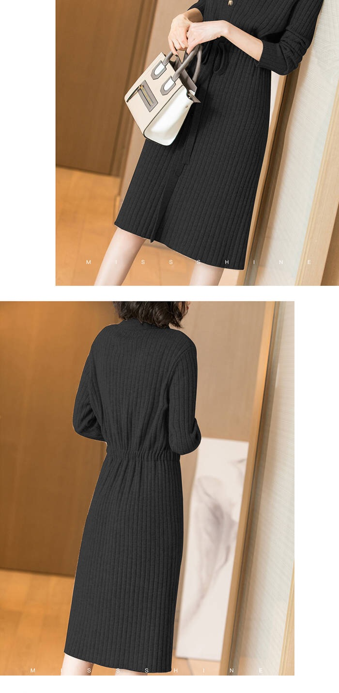 Vangull Women Knitted Dresses Solid Female Long Sleeve Dress 2019 New Autumn Winter Turn-down Collar Button Solid Slim Dresses 67