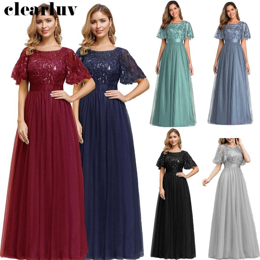 Appliques Evening Dress Long Elegant Formal Dress HQ004 2020 Sequins Robe De Soiree New Stylish Plus Size Party Dress For Women