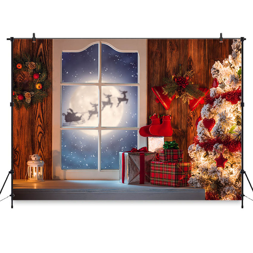 Christmas Backdrop for Photo Studio Reindeer Night Sky Xmas Tree Baby Photo Background Decoration Photobooth Photocall