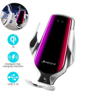 Image 1 - Soporte de teléfono R3 para coche, Sensor inteligente, soporte de carga inalámbrica, 10W, Qi, cargador inalámbrico rápido Simple para Iphone 8 Plus X, Huawei