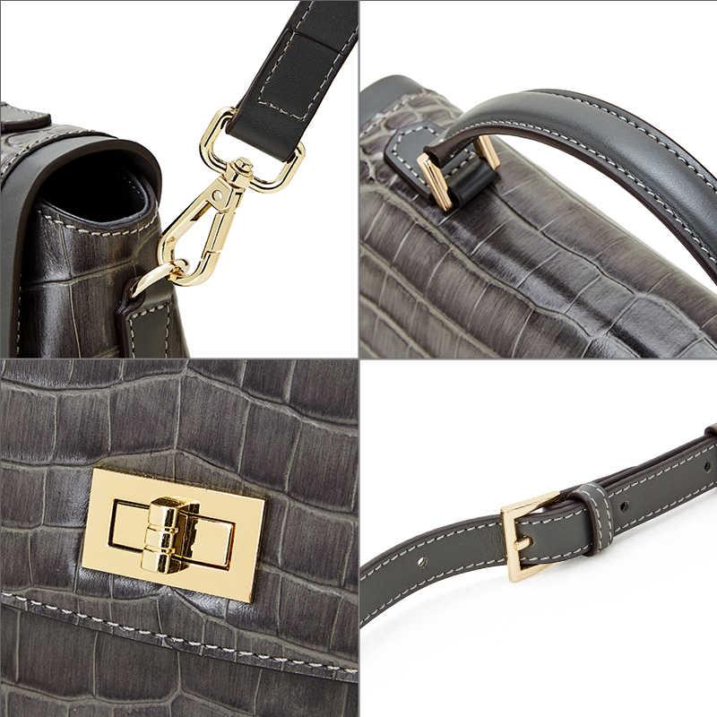 Qiwang Kleine Handtasche Weibliche Schulter Tasche 2019 Gneuine Krokodil Muster Leder Umhängetaschen für Frauen Grau Satchel Handtaschen