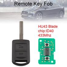 433Mhz 2 Buttons Car Remote Key with ID40 Chip and HU43/YM/HU100 Blade Fit for Vauxhall / Opel / Corsa / Combo / Meriva New
