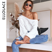 Ellolace Slash Neck Pollover Sweater for Women Long Sleeve Knitted Women's Jumpers Oversize Autumn Winter Pull Knit New Crochet navy oversize knit crew neck sweater