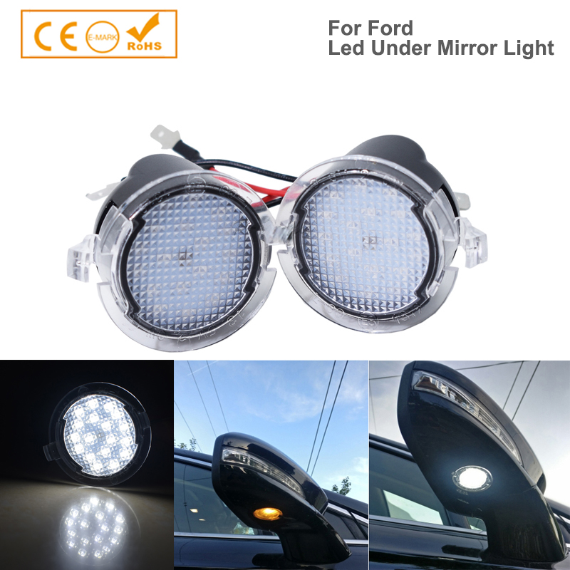 2Pcs LED Under Side Mirror Puddle Light Lamps For Ford S-max Edge Fusion Flex Explorer Mondeo Taurus F-150 Expedition