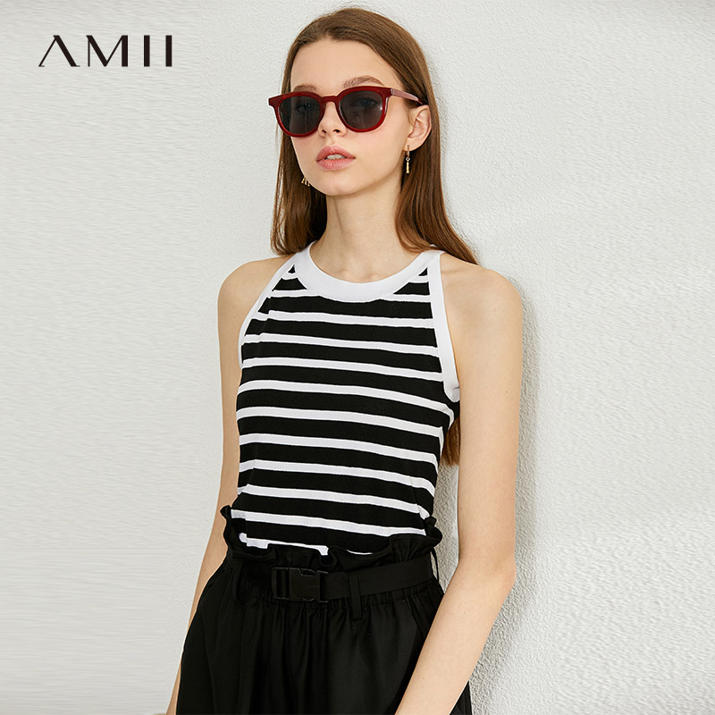AMII Minimalism Spring Summer Stripe Knit Vest Tops Women Sexy Vneck Sleeveless Camisole  Women 12040182