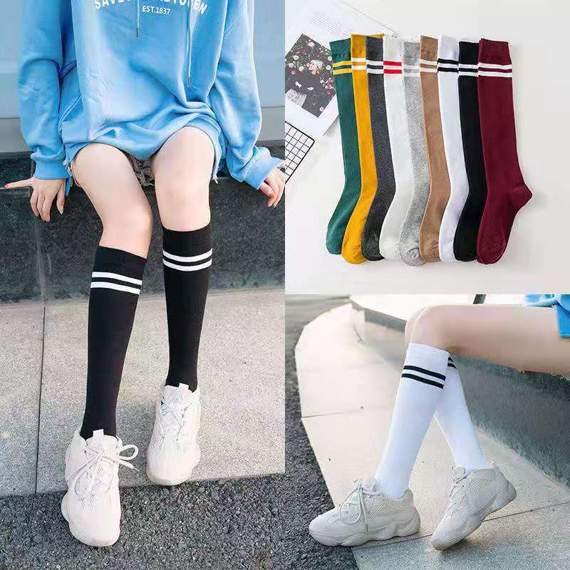 9 Colors Cotton Ladies Knee High Striped Cotton Socks Knee High Fashion Socks For Women Haraju School Party Cheerleader Supplies