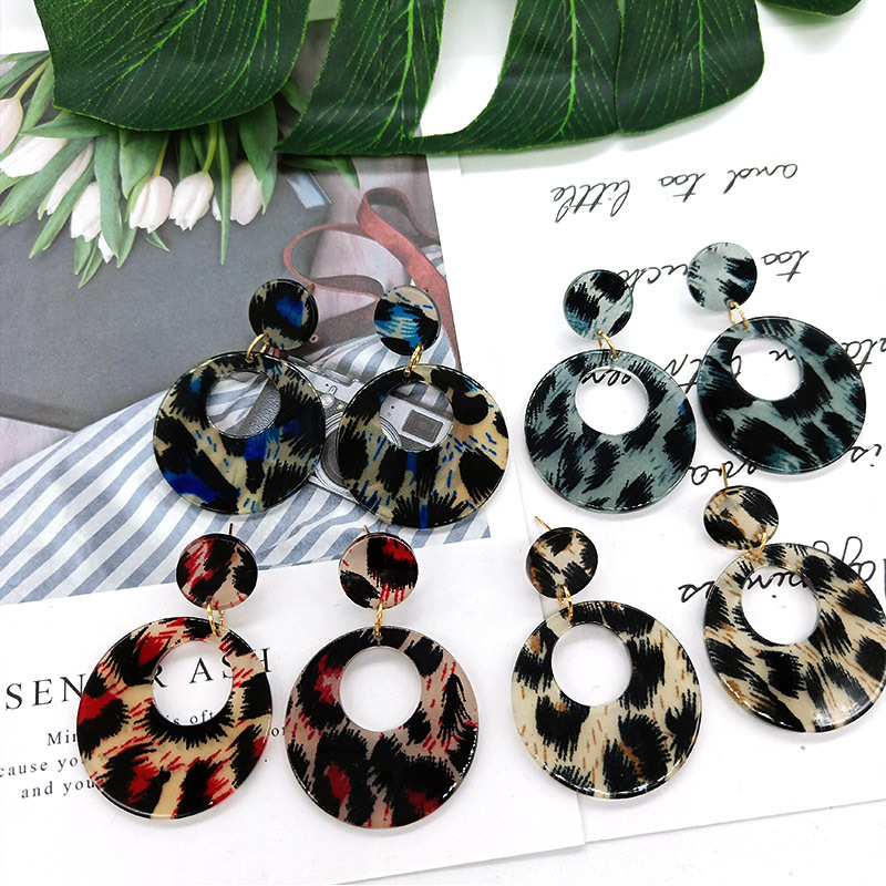 acrylic earrings for women drop Leopard acetate  fashion jewelry statement dangle