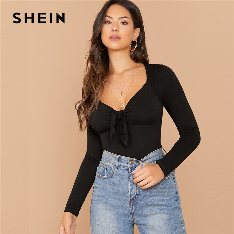 SHEIN Solid Sweetheart Neck Form Fitting Elegant T-Shirt Women Tops 2019 Autumn Long Sleeve Tie Front Office Ladies Basic Tees