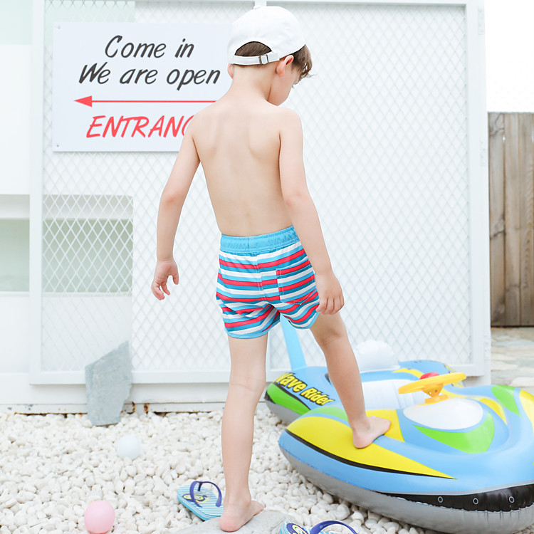 2019 New Style KID'S Swimwear Big Boy Multi-color Stripe Lace-up Cute BOY'S Beach Pants Hot Springs Swimming Trunks