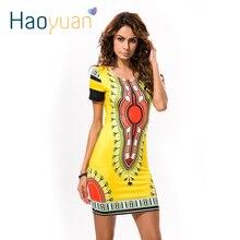 HAOYUAN летнее платье Дашики для женщин повседневное мини-платье с принтом в африканском стиле женское платье в африканском стиле индийские платья