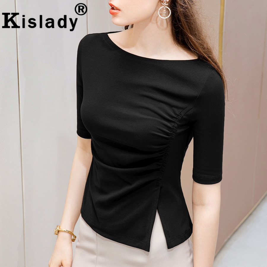 Hotkey Women Comfy Dress Solid Color Gothic Criss Cross Lace Half Sleeve T-Shirt Tops Cold Shoulder Elegant Dress Shirts