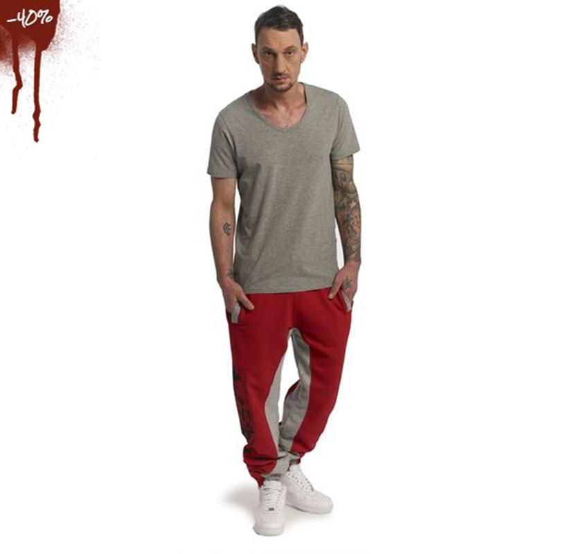Large size loose men's cotton sweatpants Autumn and winter new jogger fashion casual training skull print black jogging pants
